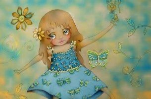 Girl Playing with Butterflies