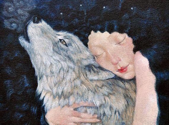 Woman Hugging Wolf