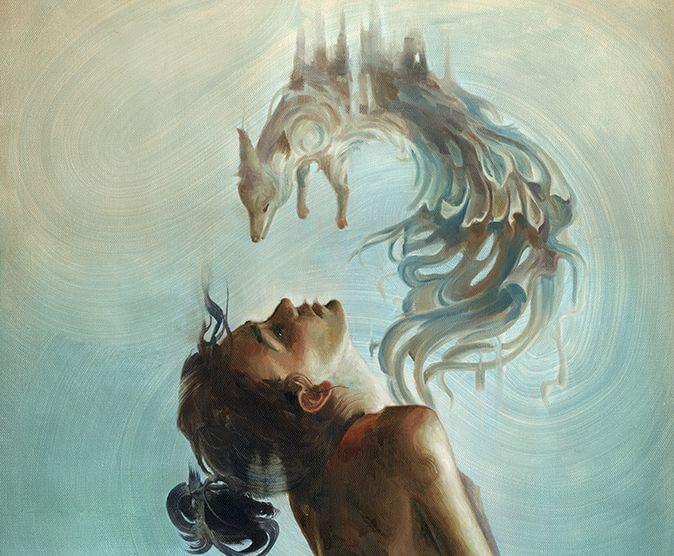 Kvinne med ulv som kommer ut av brystet