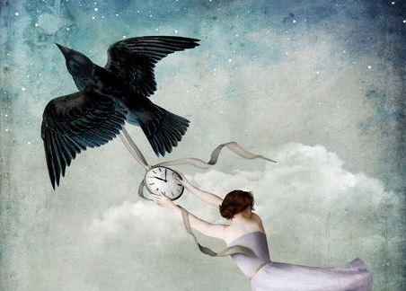bird-carrying-clock-and-woman
