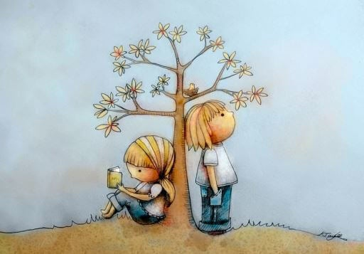 children by tree
