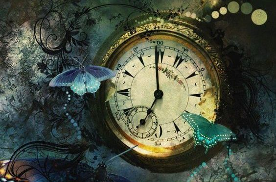 clock and butterflies