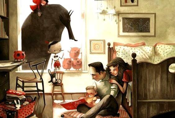 함께 책을 읽는 가족: 풍요로운 가정의 특징: 소리내고, 사과하고, 포옹한다
