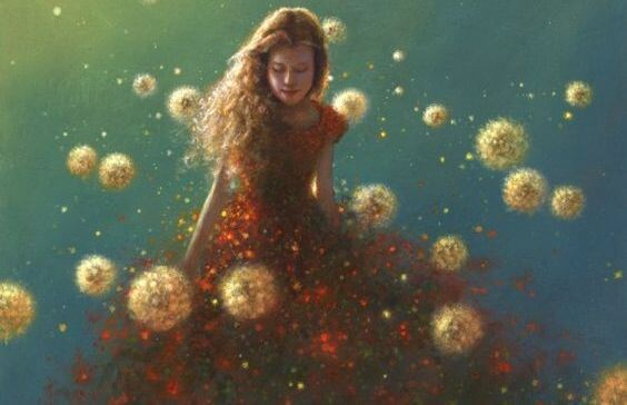 girl surrounded by dandelions