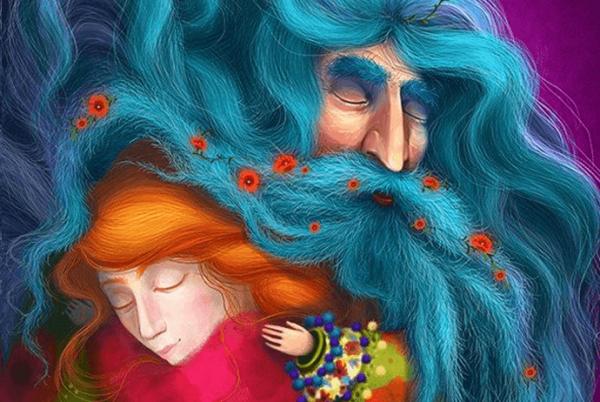 man with blue beard
