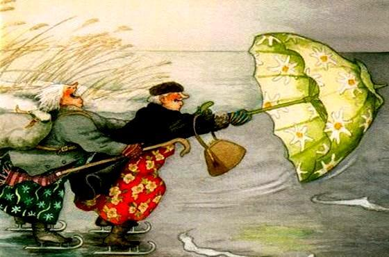 old women blowing away with umbrellas