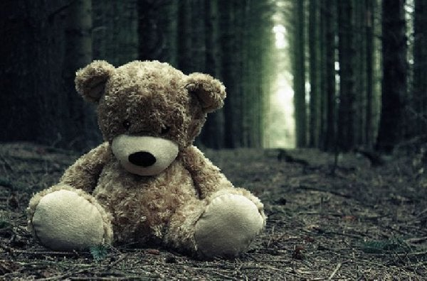 sad-teddy-bear-in-forest