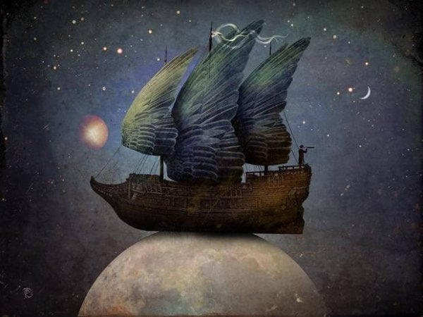ship on moon