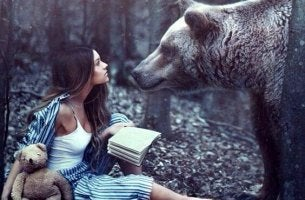 woman and bear
