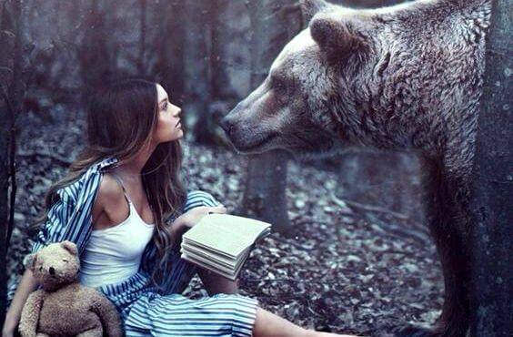 woman and bear