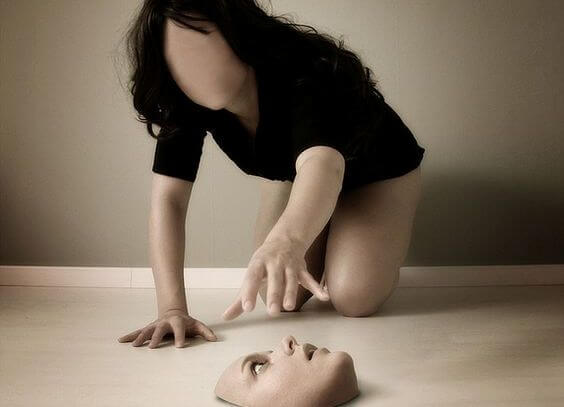 woman grabbing face