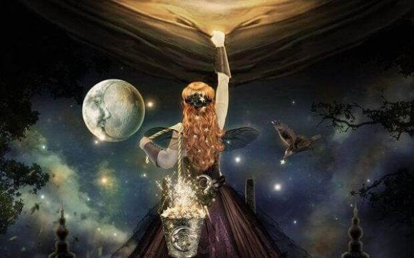 woman pulling down sky