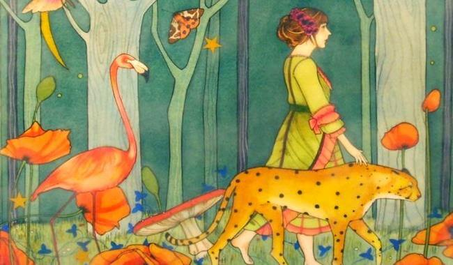 woman-walking-with-jaguar-and-flamingo