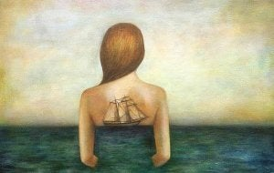 Woman with Sea and Ship