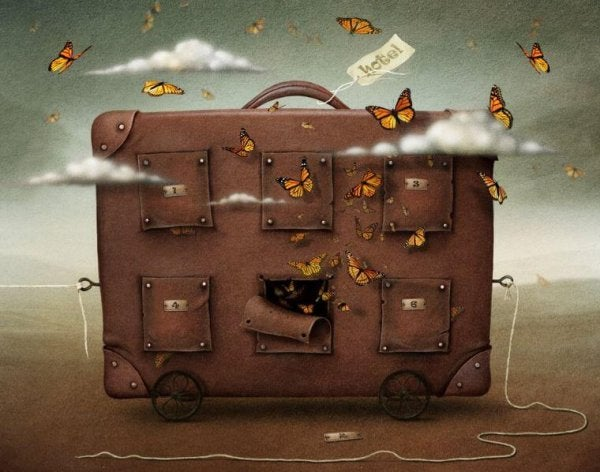 butterflies coming out of suitcase