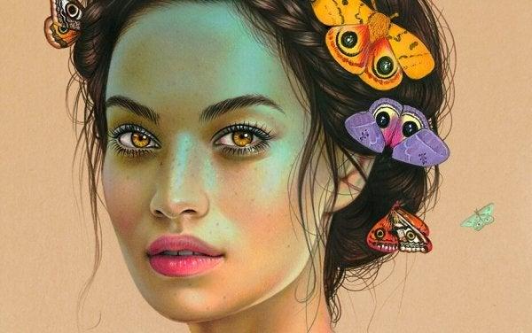butterflies in woman's hair