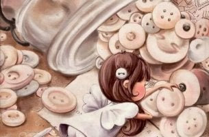 girl with buttons