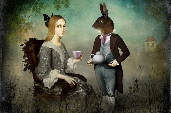 Woman with Rabbit Person