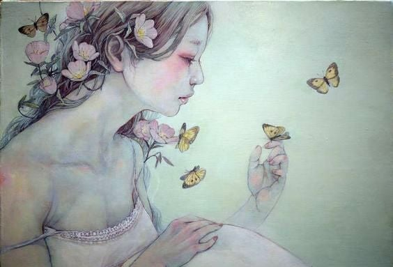 Woman with Flowers and Butterfly on Hand