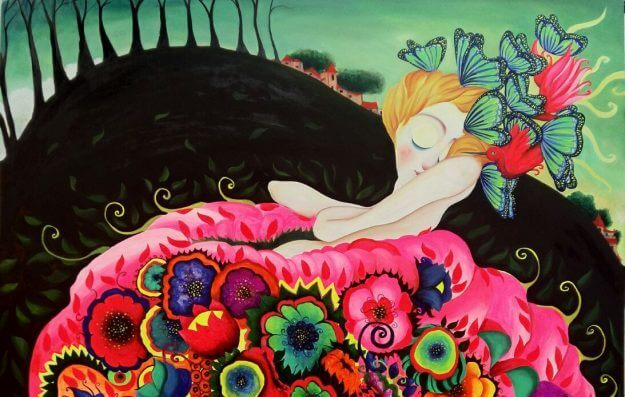 Woman Sleeping In Flowers