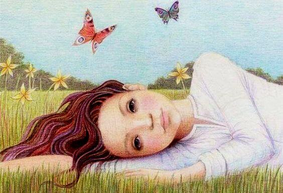 Girl Lying on Grass near Butterflies