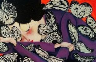 Woman Sleeping Butterflies