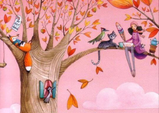 나무 위에 앉아있는 여자