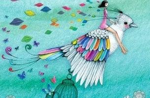 Woman Riding Colorful Bird