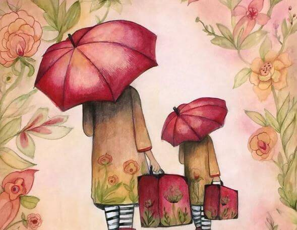 Mother and Daughter with Suitcases Umbrellas