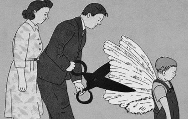 Parents Cutting Child's Wings