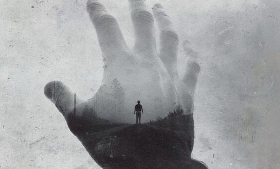 person in hand