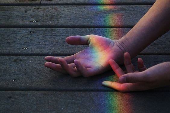 rainbow on hands