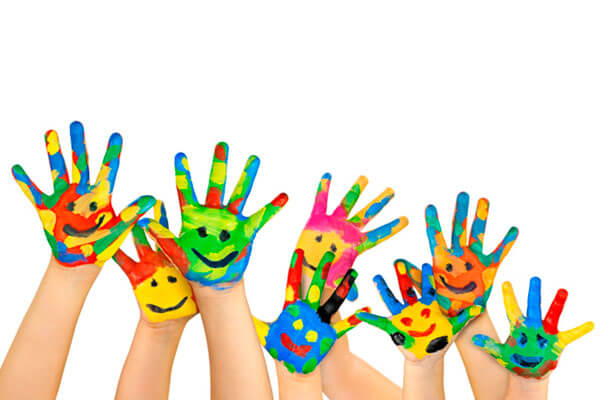 Colored Hand Faces