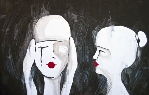 two crying women