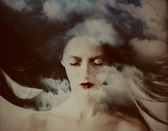 woman and clouds