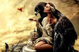 woman and giant bird