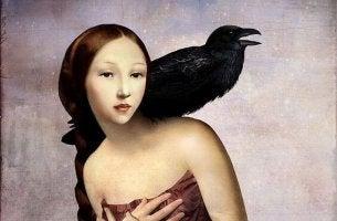 bird on girl's shoulder