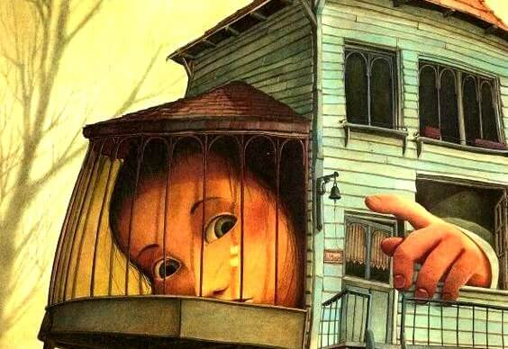 child in cage