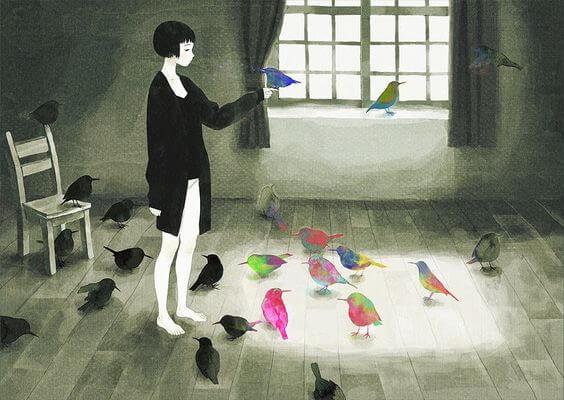 colorful birds in black and white scene