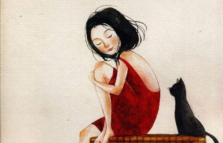 girl-in-red-dress-with-black-cat