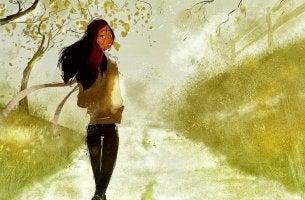 girl walking outside