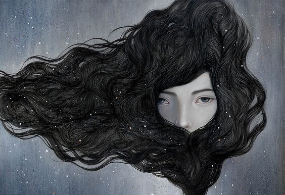 hair surrounding face