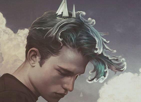 man with ocean as hair