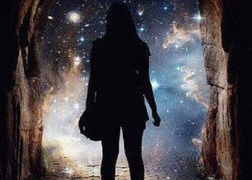 woman looking at starry sky