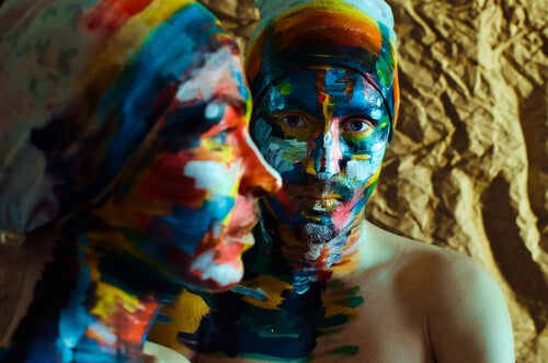 Two People Painted Faces