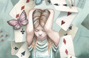 cards falling on girl