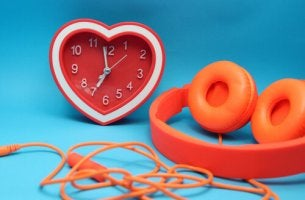 clock and headphones