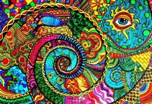 colorful drawing with eye
