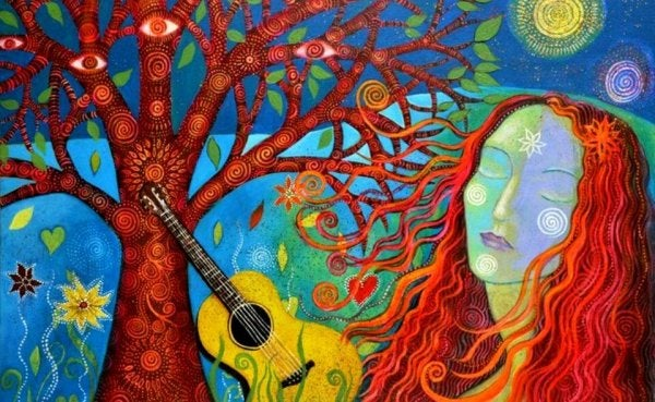 colorful woman guitar and tree