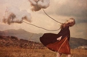 girl dragging clouds